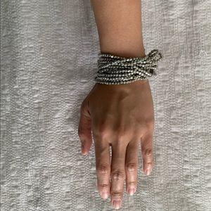 matte silver  bead bracelet